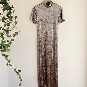 Night Way Crushed Velvet Maxi Evening Dress